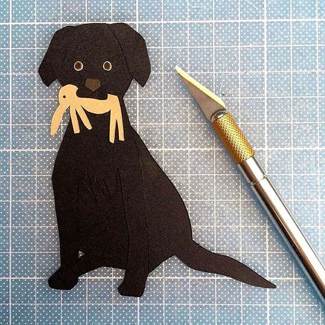 Isobel barber paper cutting personalised pet portrait Labrador