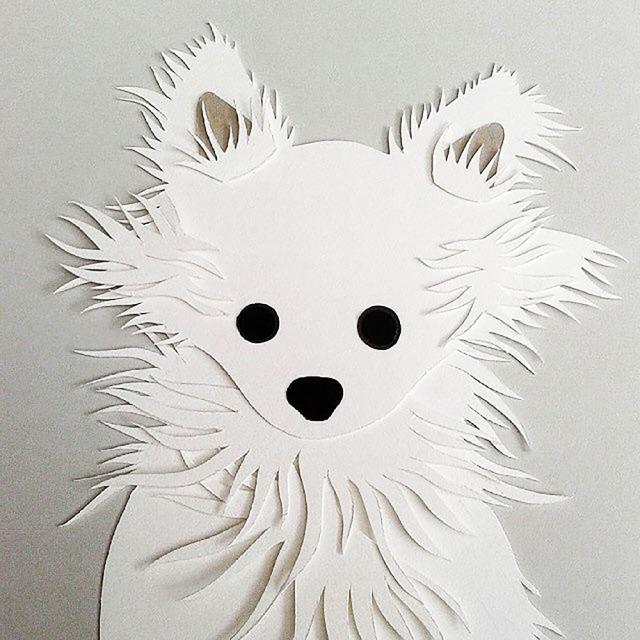 Isobel Barber papercut personalised pet chihuahua puppy