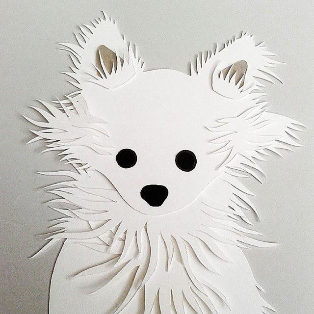 Isobel Barber papercut personalised pet chihuahua puppy