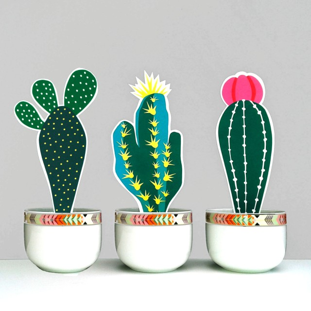 Isobel Barber paper cactus place cards