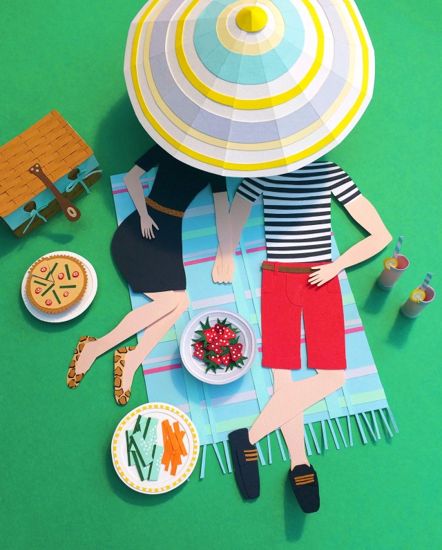 papercut picnic illustration Isobel Barber