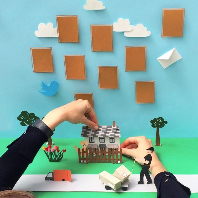 Isobel Barber 3d paper house scene editorial